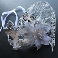 White Floral Venetian Masquerade Mask Party Prom Wedding Halloween Costume