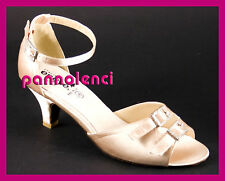Scarpe da ballo danza 35 BEIGE TAN raso satin 504-059