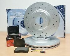 FOR MERCEDES C CLASS W203 FRONT PLATINUM DRILLED BRAKE DISCS PADS BREMBO TYPE