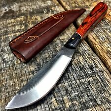 FULL TANG SAWMILL FILE SKINNER KNIFE TOOLED LEATHER SHEATH Fishing hunting -T