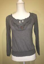 Mossimo Boho Hippie Embroidered Long Sleeve Shirt Gray XS