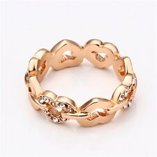 Rhinestone Heart Rose Gold Costume Rings