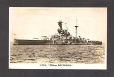 REAL-PHOTO POSTCARD:  BRITISH ROYAL NAVY BATTLESHIP - HMS ROYAL SOVEREIGN