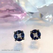 Orecchini a bottone in 585/- WG - 8 ZAFFIRI 0,74 ct. + Diamanti 0,02 Ct. TW/si NUOVO