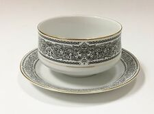 MIKASA BRINDISI FINE CHINA BLACK,WHITE,GOLD TRIM GRAVY BOAT+ATTACHED UNDERPLATE