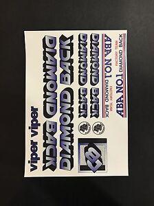 Diamondback Viper Decals Sticker Set Suit Your Old School BMX Blue