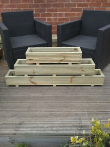 3 sizes of Painted/Natural Wooden Decking Planter/Window Box/Trough