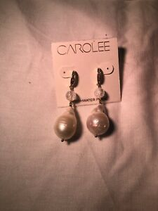 CAROLEE Large Irregular FRESHWATER PEARL TASSEL EARRINGS With Pave Dangle New