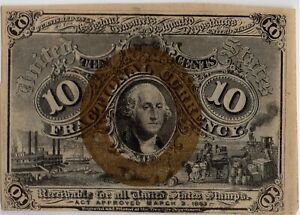 Fr.1246 2nd issue 10¢ Fractional Currency Note w/S-18-63 surcharge- Nice CU