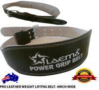 "PRO POWER LEATHER WEIGHT LIFTING TRAINING BELT BODYBUILDING GYM SUPPORT 4"" - CLR"