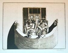 David Gerstein (b.1944) Israeli, COUPLE ON BALCONY, etching, signed Artist Proof