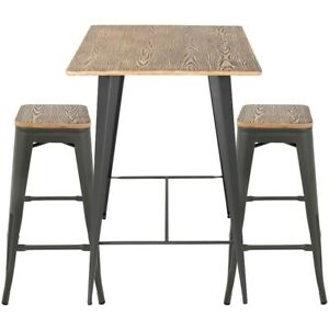 LumiSource Oregon Pub Set, Medium Brown Top/Gray Finish -B-OR3PCBN-GY