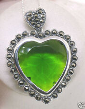 Sterling Silver Marcasite Framed Large BRILLIANT Peridot Heart Pendant w/ Chain