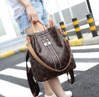 Damen Rucksack Übergröße Schultertasche Leder Damentasche Handtasche Braun