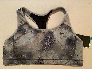 NWT New Womens Nike Sports Bra Top Dri-Fit Gray Black Ombre Spots L High Support