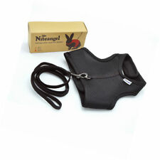 Niteangel Soft Harness With 47in Elastic Leash for Bunny Black
