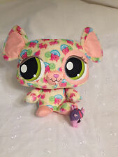 "7"" LITTLEST PET SHOP HAPPIEST MOUSE HASBRO 2008 STUFFED ANIMAL  PLUSH TOY PINK"