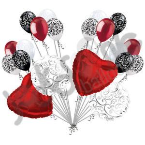 20 pc Red Heart & Swirl Balloon Bouquet Wedding Bridal Shower Anniversary Love