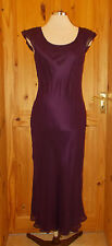 HOBBS MARILYN ANSELM dark purple SILK chiffon evening dress short sleeve 10 38