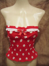 Red white polka dot strapless top,cherry!1950's,rockabilly,pin-up,vintage XX