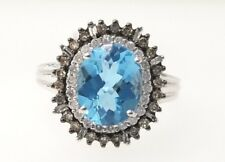 White Gold Diamond Blue Topaz Cocktail Fashion Right Hand Ring Ladies Band