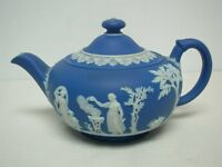 "ANTIQUE WEDGWOOD ENGLAND DARK BLUE JASPERWARE COVERED TEAPOT 4 1/4"" HIGH"