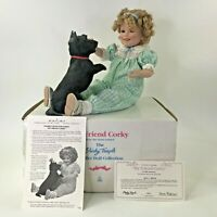 "Shirley Temple Toddler Doll My Friend Corky Black Dog Danbury Mint Porcelain 11"""