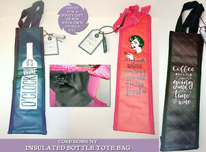 INSULATED BOTTLE TOTE BAG Navy WINE O'CLOCK Red COOK Black Pink COFFEE Core Gift