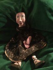 Vintage Primitive Folk Art Hand puppet papier-mâché doll large eyes