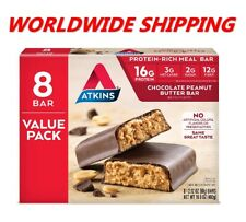Atkins Chocolate Peanut Butter Protein Rich Meal Bar 16.9 Oz 8 Ct WORLD SHIPPING