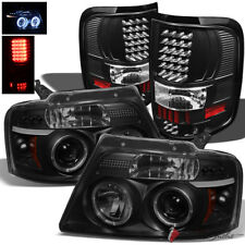 For 04-08 F150 Mystery Black Smoked Halo Pro Headlights + Black LED Tail Lights