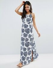 Liquorish Leaf Print Maxi Beach Dress S/M