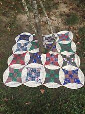 "Christmas Tree Skirt 36"" Nine Patch Handmade Quilt Block Patchwork"