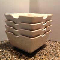 4 Pottery Barn ASIAN SQUARE Putty (Cream) Pho Soup Noodle Bowls