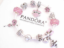 Authentic Pandora Silver Bangle Bracelet with Pink Love Mom European charms