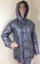 Tommy Girl Hilfiger Hooded Silver Metallic Puffer Toggle Parka Jacket Womens S
