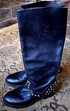 ASH 'Vamos Bis' Studded Knee High Leather Boots Black Motorcycle Sz.38/8