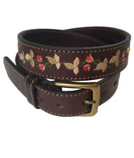 """Las Flores"" 100% Argentine Embroidered Leather Polo Belt - Brown/Red"