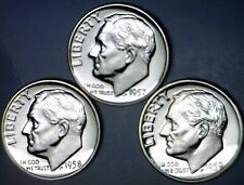 1957 1958 & 1959 GEM PROOF Roosevelt SILVER Dime SUPERB PRF 3 Coin LOT w/   NR
