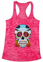 Women's Neon Skull with Roses Holiday Burnout Racerback Tank Tops Day of Dead