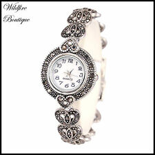 Vintage Antique Silver Marcasite Style Heart Shape Chainlink Bracelet WristWatch