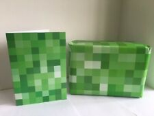 GREEN & RED Pixel Minecraft Inspired Wrapping Paper (Gift Wrap) & Greeting Card