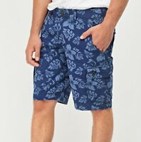 Mens Blue Navy Floral Leaves Print Knee Long Combat Pockets Shorts S M L XL