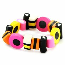 Funky Liquorice Allsort Elasticated Stretch Bracelet - Retro Sweets Joe Cool