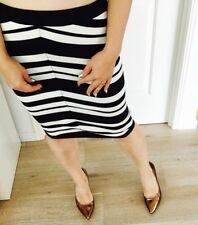 Knee-Length Stretch Knit Striped Skirts for Women