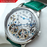 Mens Double Flywheel Automatic Mechanical Watch Silver White Dial Green Leather