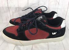 Supra Red Black Suede Skate Shoes Sneakers Rare Sample Men's Size 9