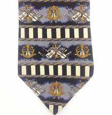 Metropolitan Museum of Art Neck Tie Music Instruments Black & Blues Silk 56""