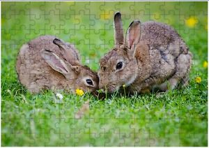 Bunny Rabbits Cute  A4 JIGSAW Puzzle Birthday Christmas (Can Be Personalised)