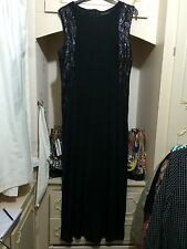 Black Stretch Lentejuelas embellised Maxi Vestido Talla 18/20 BNWT
